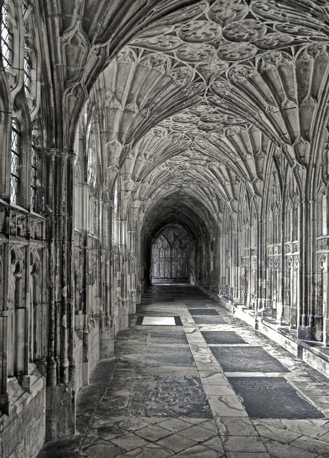 The cloisters at Gloucester Cathedral